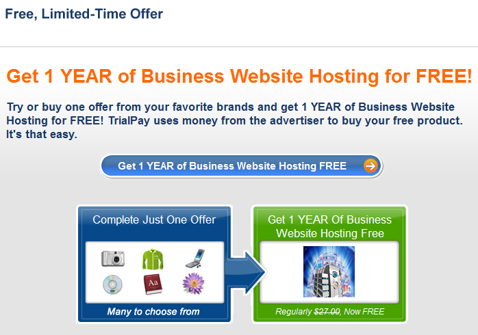 Free Website Hosting Via Trialpay Offers